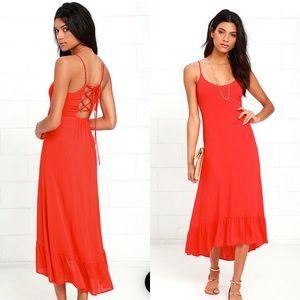 🆕 lulus Sz Lg Wild Waves Red Lace-Up Midi Dress